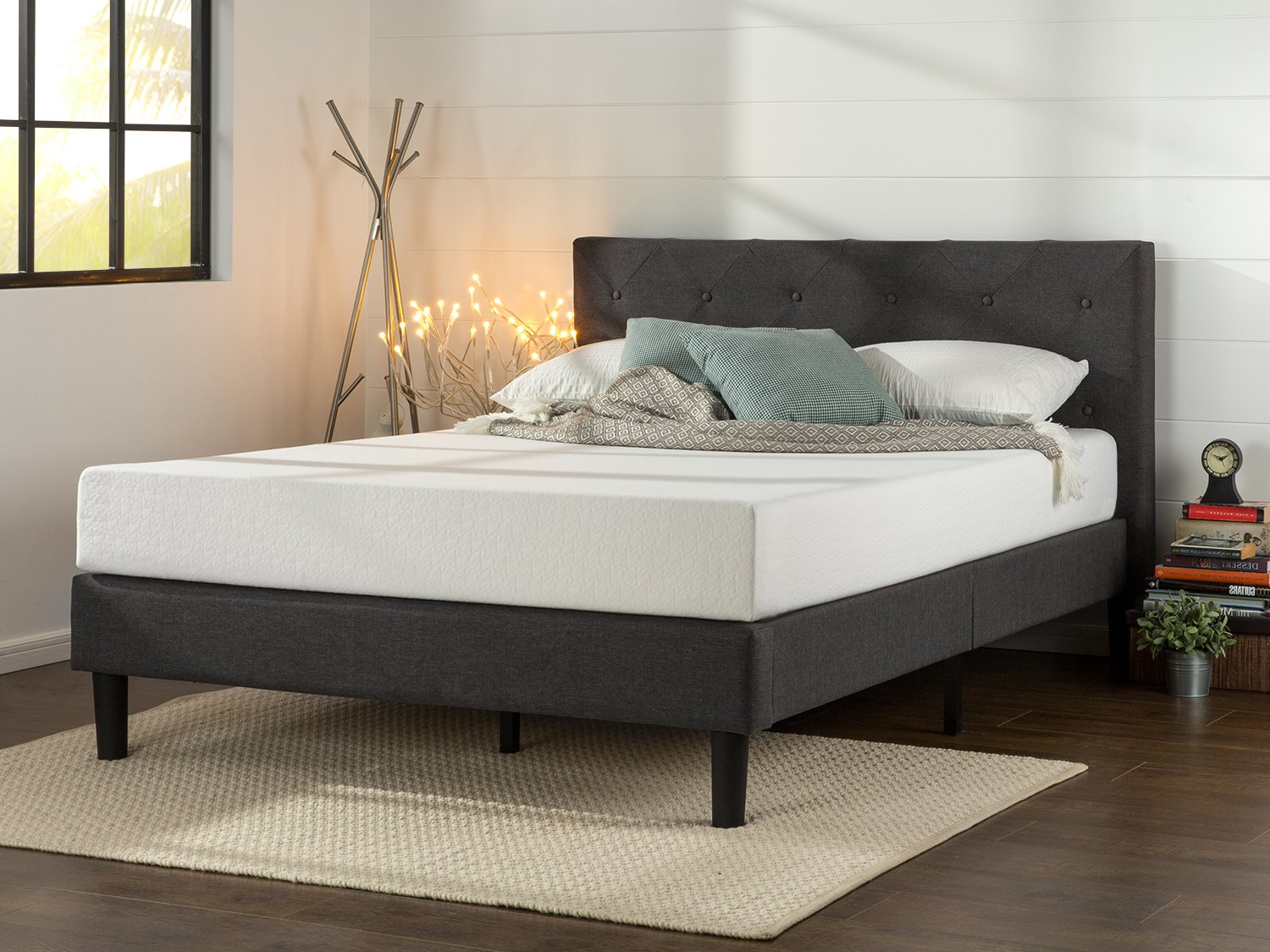 Amazon.com: Zinus Upholstered Diamond Stitched Platform Bed with Wooden  Slat Support, Queen: Kitchen & Dining