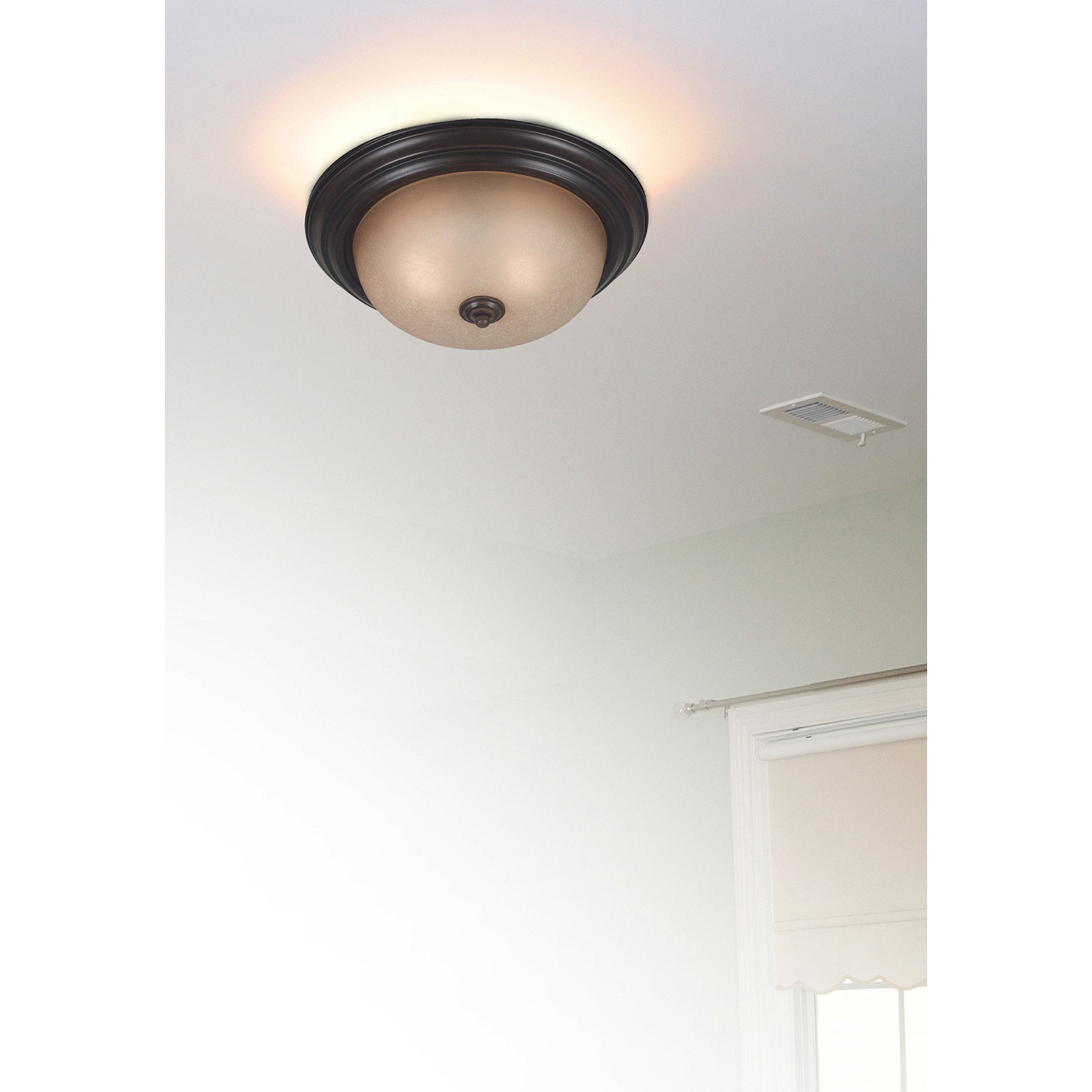 Kenroy Home 80367COCO Triomphe Two-Light Flush Mount Light With 10-Inch Amber Scavo Glass Shade - Fluoroscent, Cocoa
