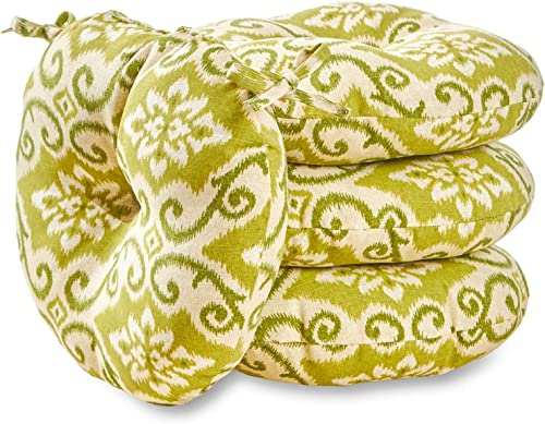 South Pine Porch AM6817S4-SHOREHAM Shoreham Green Ikat 18-inch Round Outdoor Bistro Chair Cushion, Set of 4