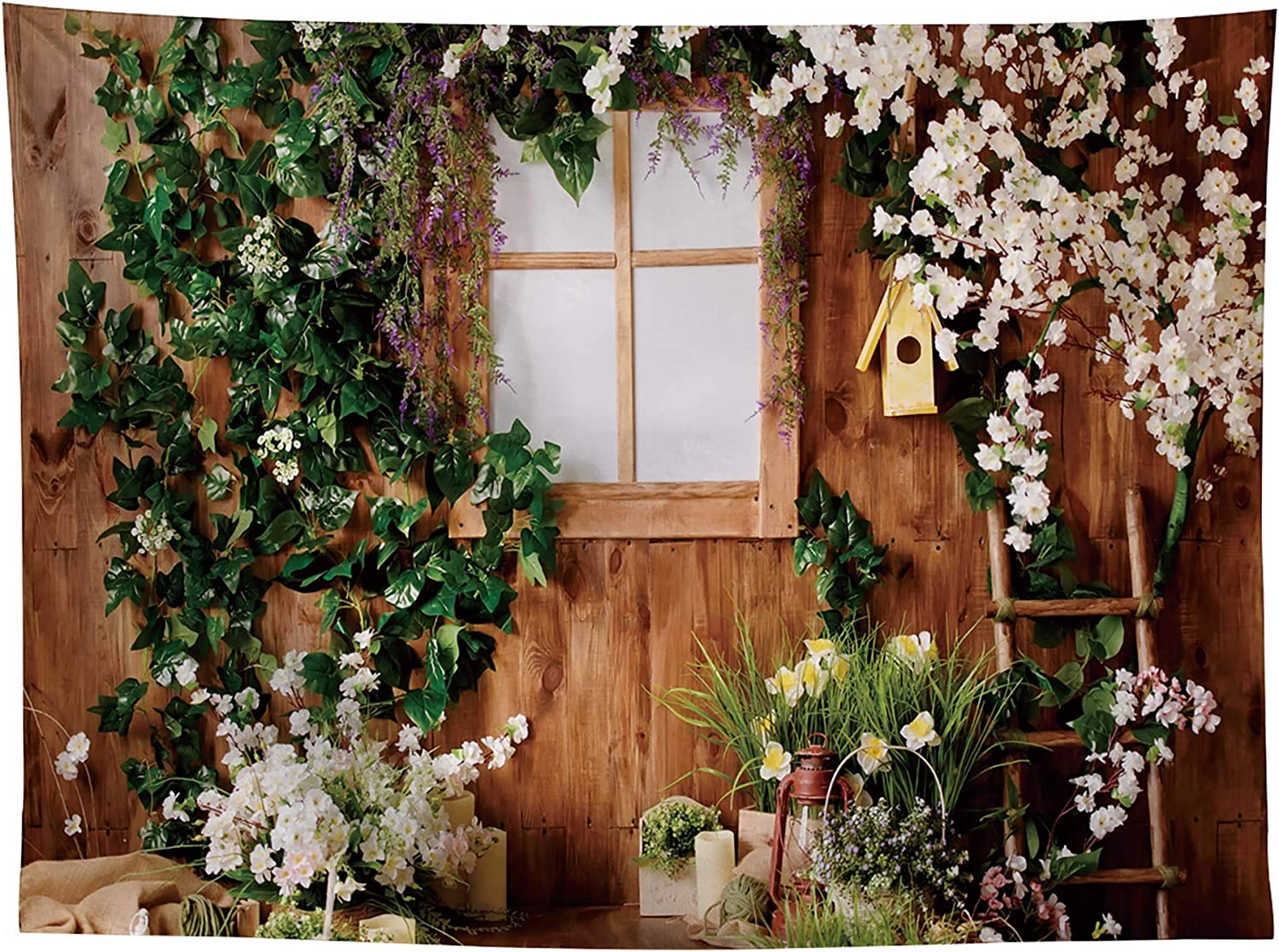 Allenjoy 8x6ft Rustic Wood Happy Easter Photography Backdrop for Newborn Baby Shower Birthday Party Supplies Decorations Spring Garden Floral Studio Portrait Pictures Shoot Props Favors Background