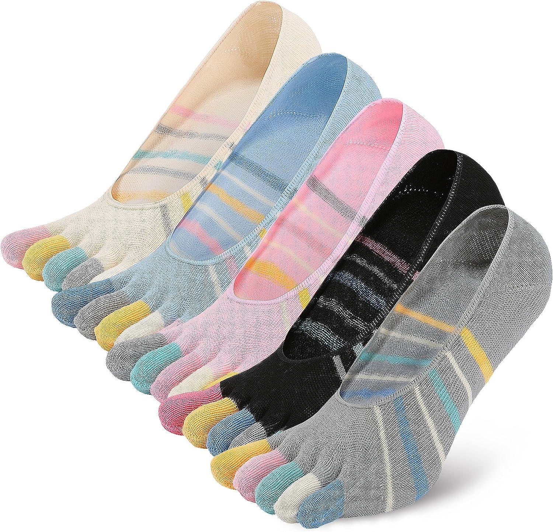 PUTUO Calcetines Cinco Dedos Mujer Calcetines Invisibles de ...