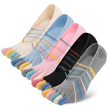 PUTUO Calcetines Cinco Dedos Mujer Calcetines Invisibles de Algodón, Calcetines 5 Dedos Mujer Calcetines Cortos Bajo con Silicona, 5 pares: Amazon.es: Ropa ...