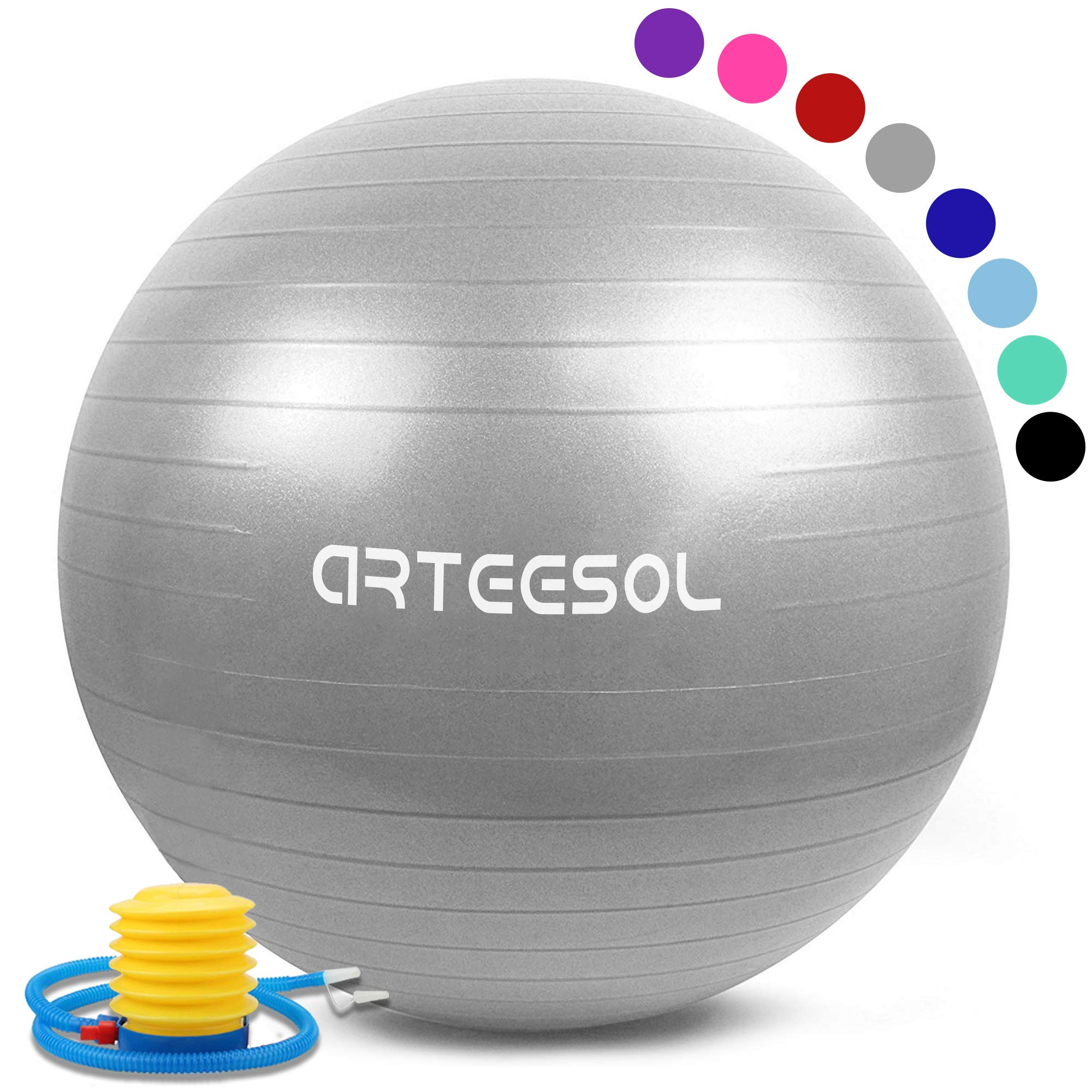 arteesol Exercise Yoga Ball, Gym Ball with Quick Pump 75cm/65cm/55cm/45cm Anti-Slip Exercise Ball Heavy Duty Gym Ball for Physical Therapy, Gym and Home Exercise (Silver, 75cm) by arteesol
