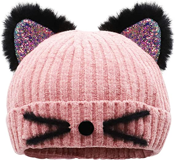 Fall Winter Warm Cute Cat Ears Knitted Cap Outdoor Ski Women Lady Beanie Hat