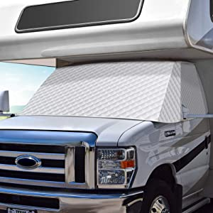 COOLTOP RV Windshield Sunshade Cover for Class C Ford E450 1997-2020, Motorhome Windshield Cover for RV Front Window Cover with Mirror Cutouts
