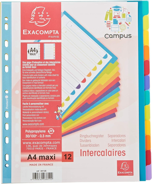 Exacompta 3812E Plastic Slip Maxi Neutral 12 botones translúcidos