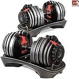 Sporteq Adjustable Dumbbells Set 24kg & 40kg Selectable Dial 15 Different Weights Home Gym Fitness Training With Base Station