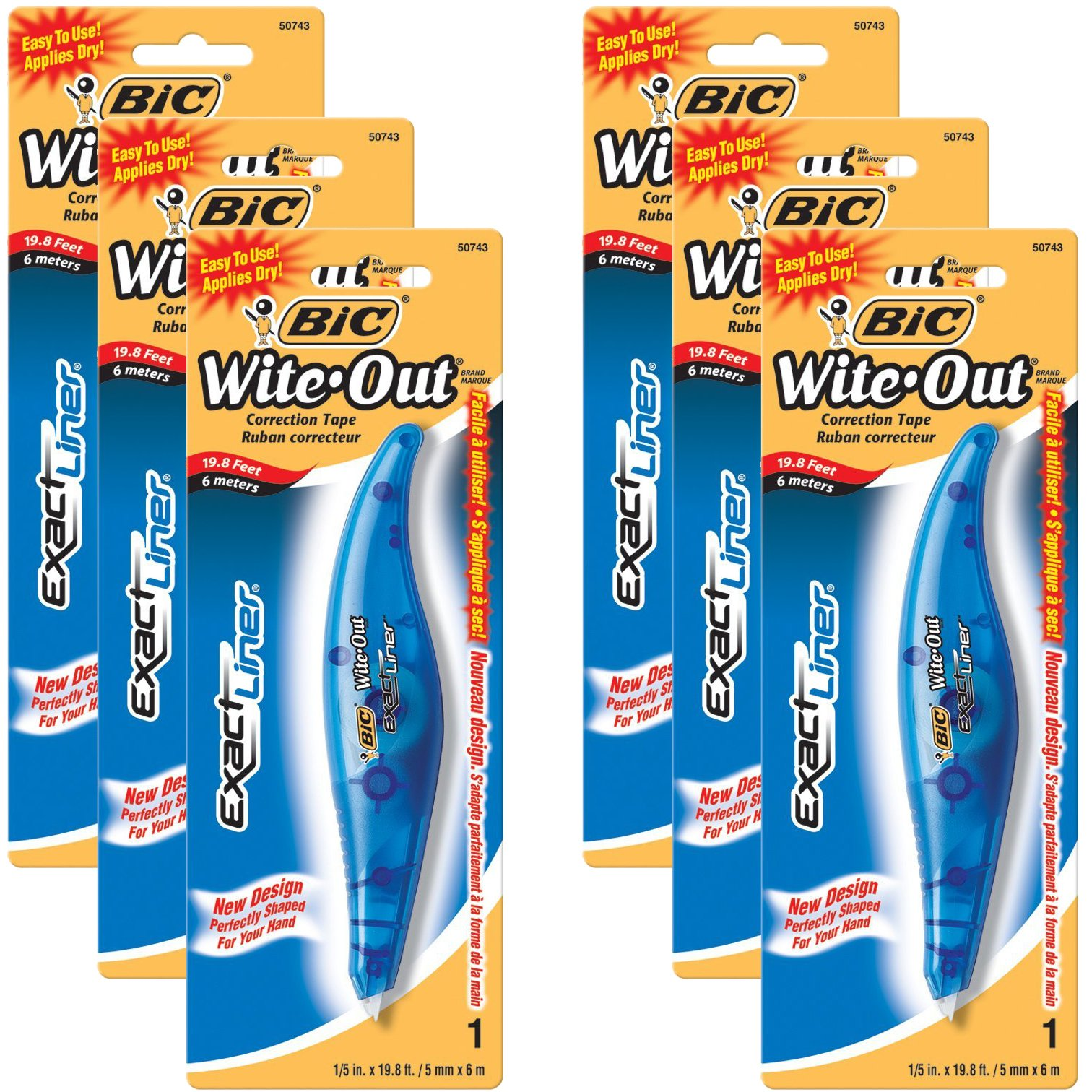 BIC White-Out Exact Liner Correction Tape Pen 1/5''x236'' 6-PACKS Pens (WOELP11) by BIC (Image #1)
