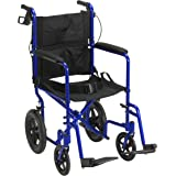 Drive Medical EXP19LTBL Lightweight Expedition Folding Transport Wheelchair with Hand Brakes, Blue
