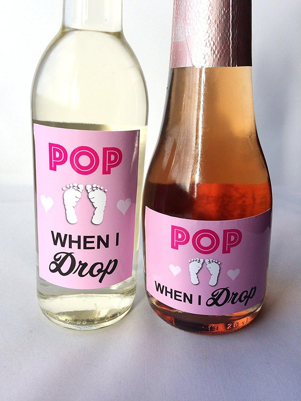 10x \'Pop When I Drop\' Baby Shower Mini Wine, Champagne Bottle Gift ...