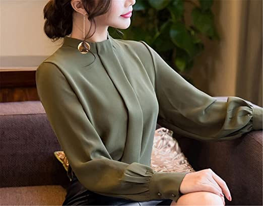 MEILIDONGREN Women Fashion Long Sleeve Shirts Casual Chiffon Blouse Work Wear Blusas at Amazon Womens Clothing store: