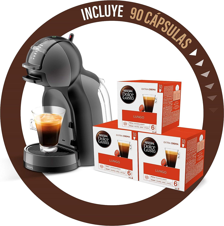 Pack Krups Dolce Gusto Mini Me KP1208 - Cafetera de cápsulas, 15 bares de presión, color negro y gris + 90 cápsulas de café con Leche: Amazon.es: Hogar