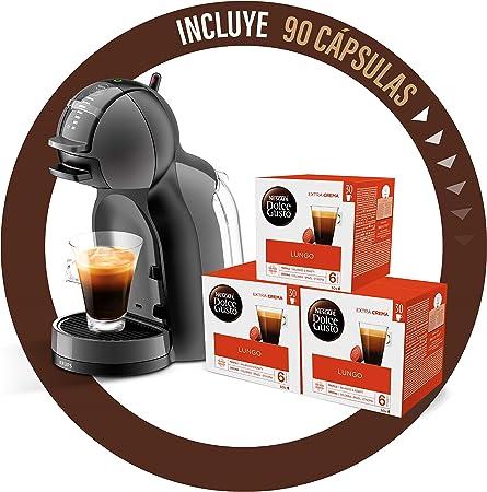 Pack Krups Dolce Gusto Mini Me KP1208 - Cafetera de cápsulas, 15 bares de presión, color negro y gris + 90 cápsulas ...