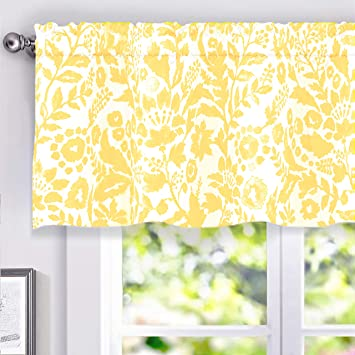 DriftAway Julia Watercolor Blooming Flower Floral Lined Thermal Insulated  Energy Saving Window Curtain Valance for Living Room Bedroom 2 Layers Rod  ...