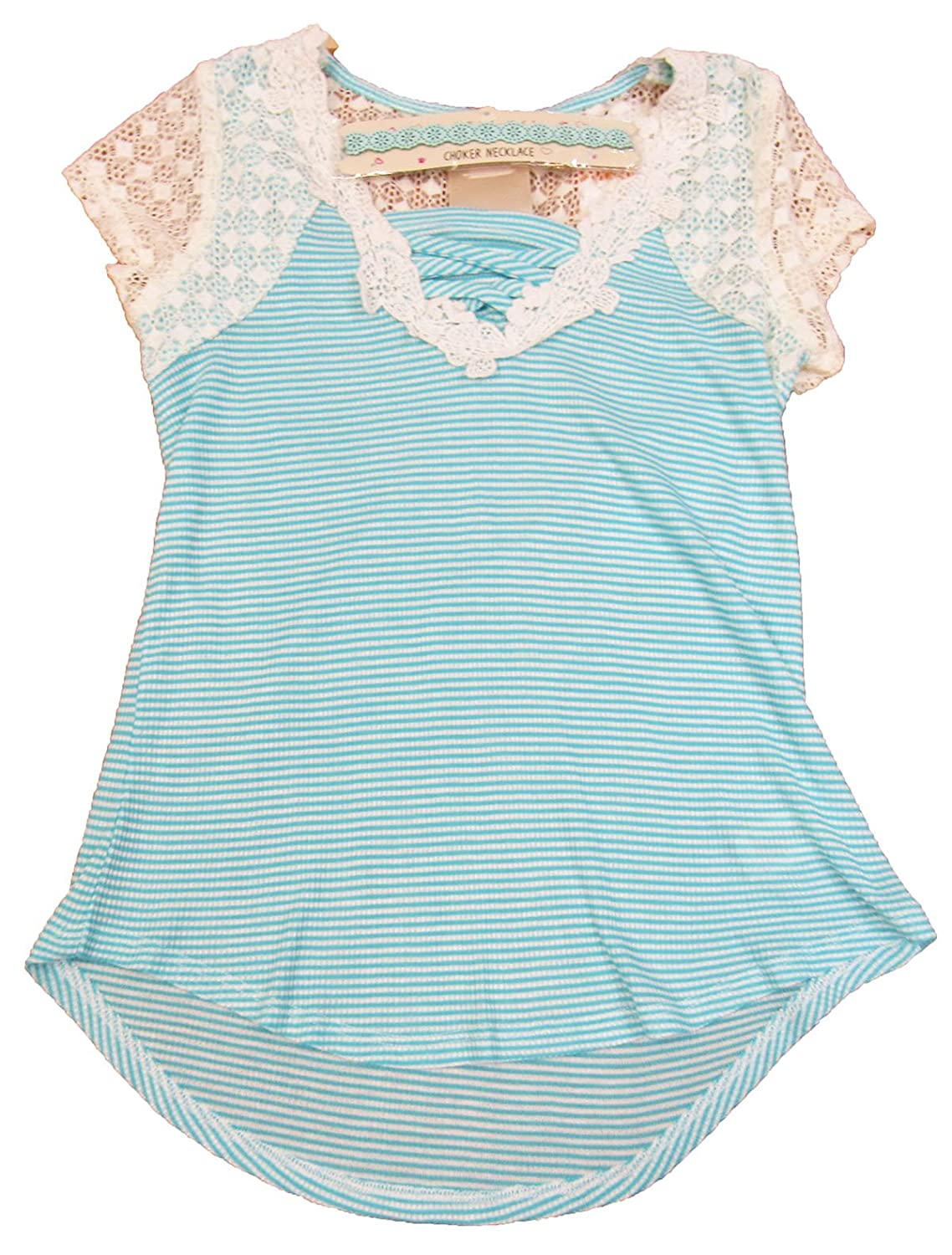 Lace-Front Shirt Green//Ivory Small Belle du Jour Big Girls 7-16