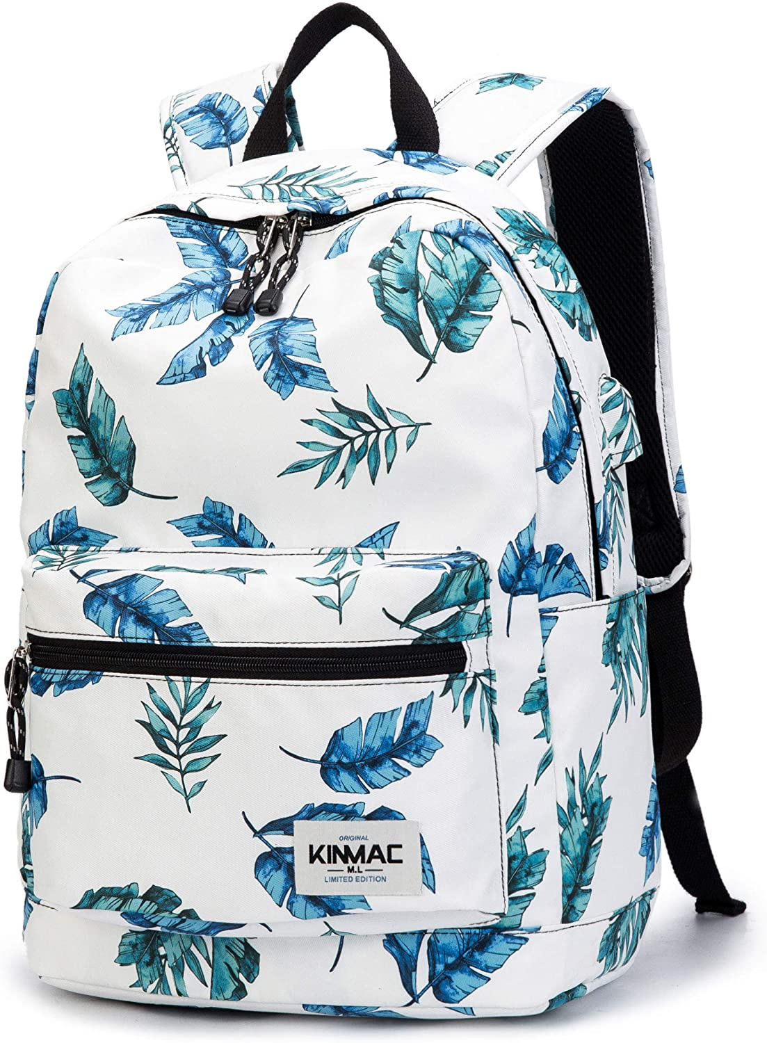 Kinmac Waterproof Laptop Travel Outdoor Backpack with USB Charging Port for 13 inch 14 inch and 15.6 inch Laptop (Banana Leaf)