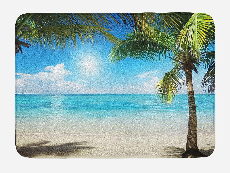Ambesonne Tropical Beach Bath Mat, Coconut Palm Trees Shadows on Caribbean Shore Summer Plants Idyllic, Plush Bathroom Decor Mat with Non Slip Backing, 29.5
