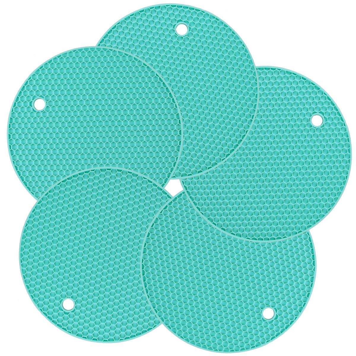 Set of 5 Silicone Pot Holders/Hot Pads, Trivet Mats, Non Slip Durable Flexible Table Mats Round Honeycome Heat Resistant Pot Coaster (Cyan) LogHog PHSL01TL
