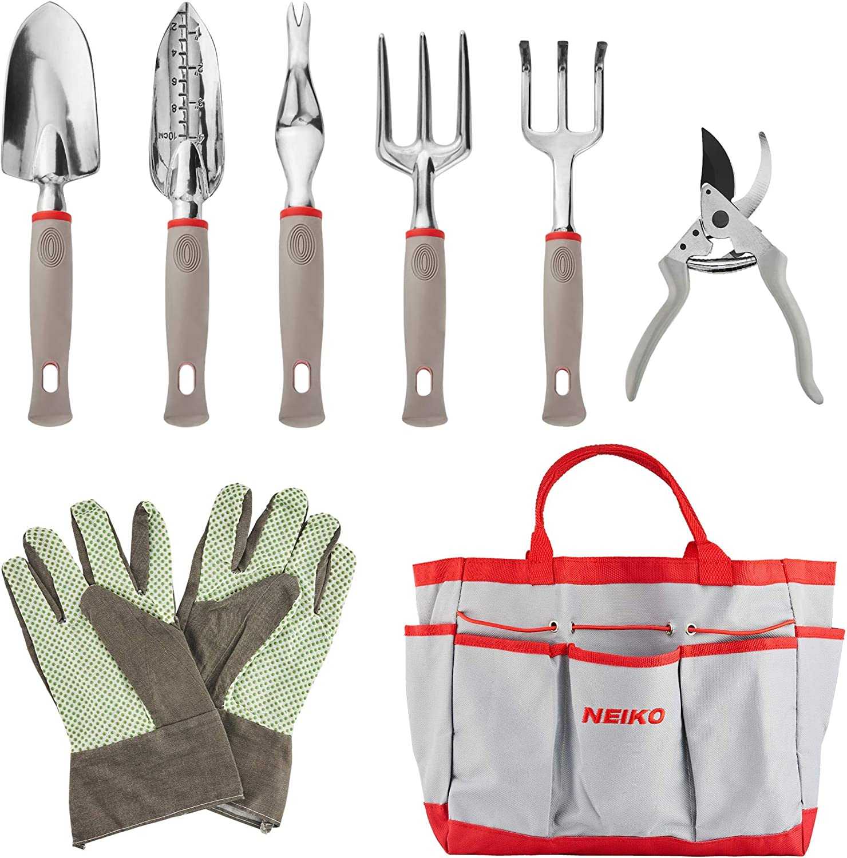 Neiko 61090A Heavy Duty 8 Piece Gardening Tool Set   Premium Storage Tote Bag   Ergonomic Soft-Grip Handle   Unisex for Men and Women   Shovel, Trowel, Transplanter, Rake, Pruners, Gloves and More