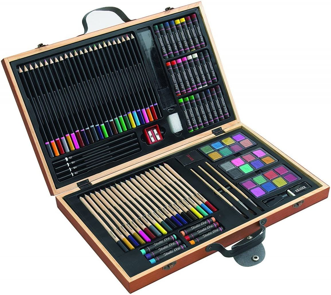notrash2003 Caja de pinturas, 88 piezas, lápices de colores, ceras, pinceles, caja de madera: Amazon.es: Juguetes y juegos