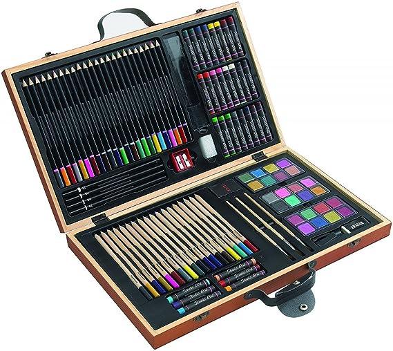 notrash2003 Caja de pinturas, 88 piezas, lápices de colores, ceras ...