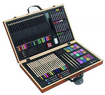 notrash2003 Caja de pinturas, 88 piezas, lápices de colores, ceras, pinceles, caja de madera