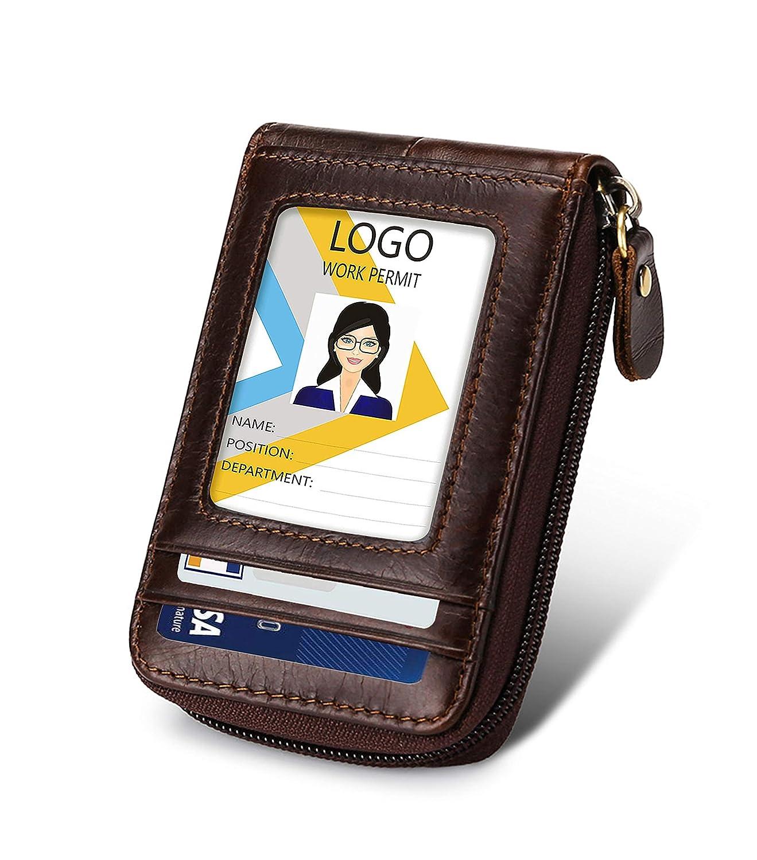 Card Holder,Leather Wallet with Zipper ID Window RFID Blocking,Credit Card ID Card Case Fashion