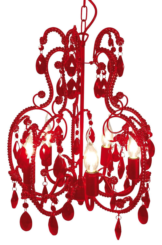 Naeve Leuchten Klassik - Krone ø 42 cm Höhe  50 cm, rot 826921