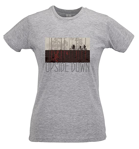 LaMAGLIERIA Camiseta Mujer Slim Upside Down Grey Print - T-Shirt Stranger Things Mike Lucas Dustin Eleven Will 100% Algodòn Ring Spun: Amazon.es: Ropa y ...