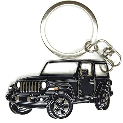 Wrangler Key Chain for car Accessories. Chrome Metal tag, Enamel. Replica. (Black): Office Products