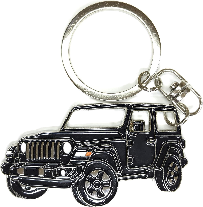 Wrangler Porte-cl/és pour accessoires de voiture Plaque en m/étal chrom/é /émail R/éplique noir