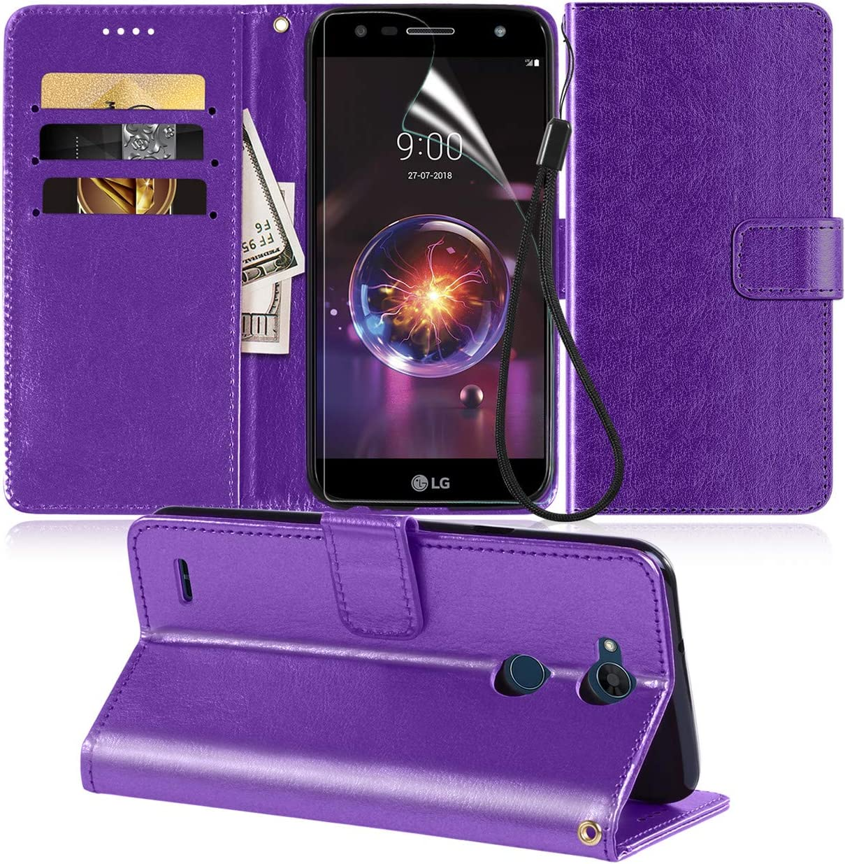 ADroid????LG X Power 2,LG X Charge 2 Case/LG X5 2018 Phone Cover, PU Leather Wallet Style [Card Slot] Flip Folio Kickstand Case with Holder [HD Screen Protector] [Wrist Strap] for LG X Power 3-Purple
