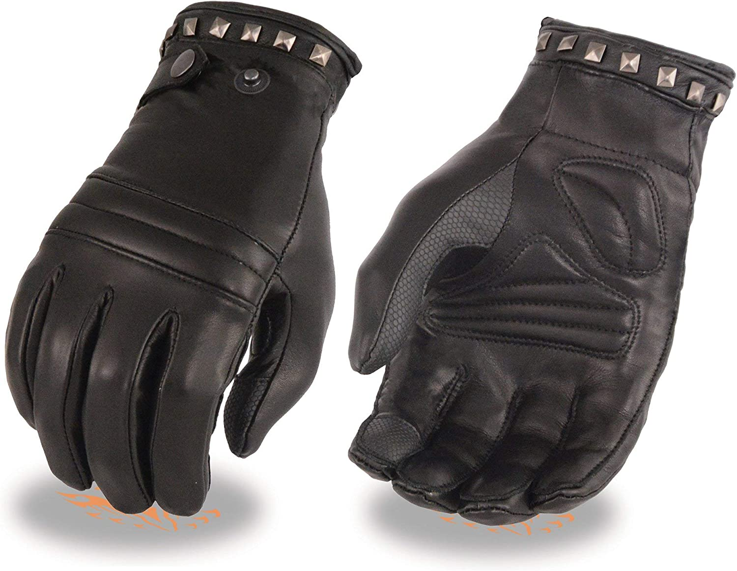 X-Large Milwaukee Leather MG7755 Ladies Leather Thermal Lined Glove with Studding Detail and Touch Screen Fingers