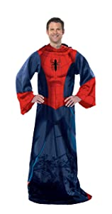 """Marvel's Spider-Man, """"Spider Up"""" Adult Comfy Throw Blanket with Sleeves, 48"""" x 71"""", Multi Color"""