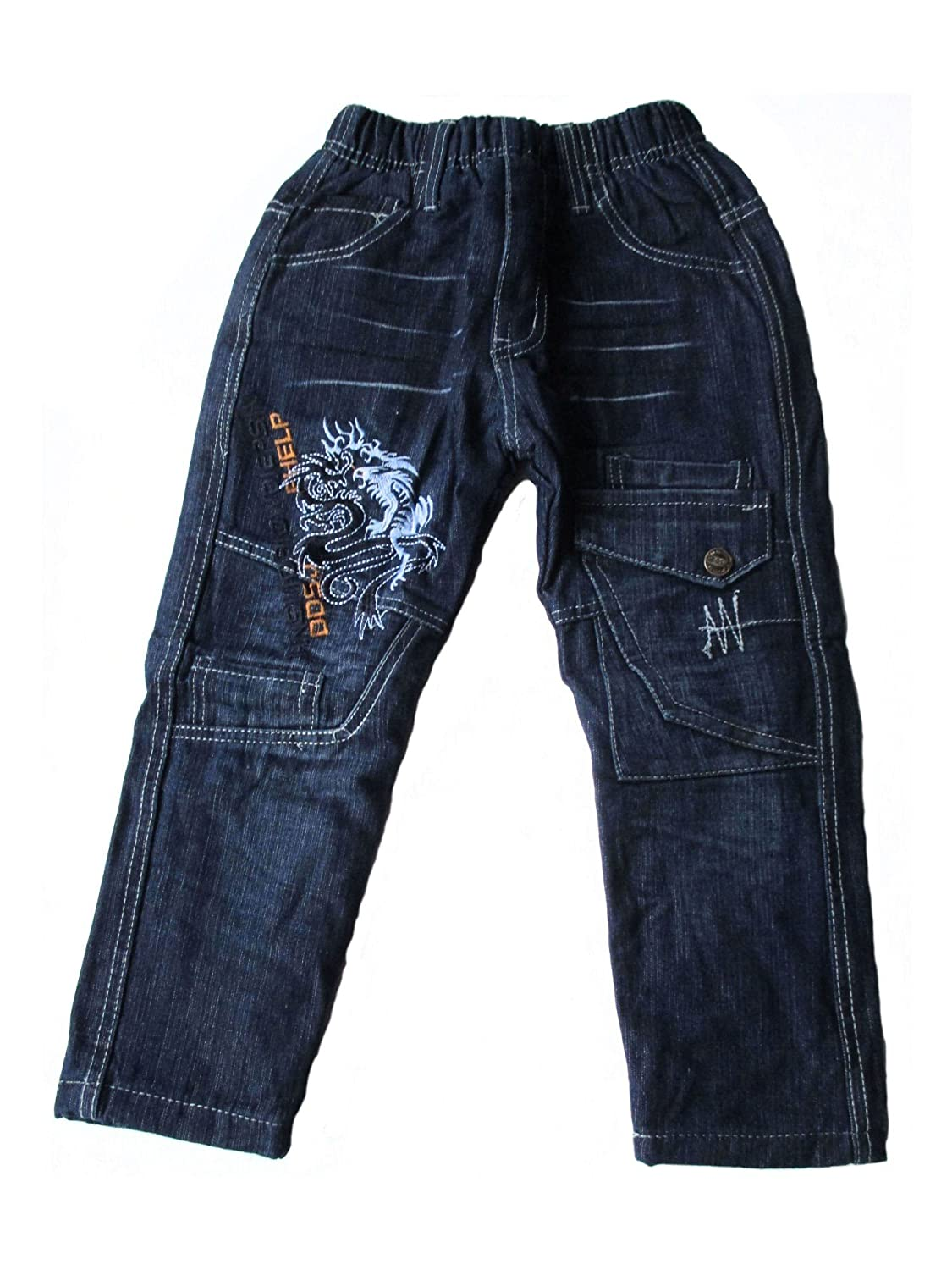 Kinder Jungen Thermo Jeans, Thermojeans, Thermohose, gefüttert, mit Motiv 'Drache', blau, AM-KI-JU-Thermo-RB603-bl