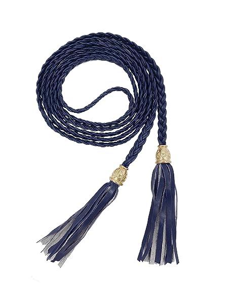 TeeYee Mujeres PU cuero exótico tejido cintura cinturón cuerda cadena con  borla (navy ffa63162d39a