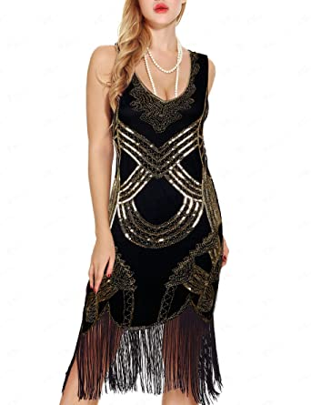 fa24295bb3a Women s Retro Art Deco Great Gatsby Dresses- Vintage Sequin Fringed  Cocktail Flapper Dresses (XS