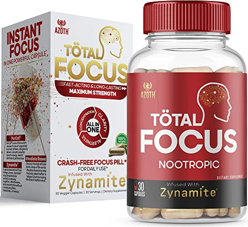 AZOTH Total Focus Supplement - Instant Focus, Energy, Attention Concentration - with Zynamite, Rhodiola Rosea, PurCaf Organic Caffeine - All-Natural, Crash-Free Nootropic Brain Supplement 30 Pills