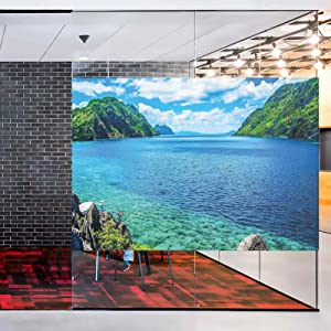 No-Glue Static Decorative Privacy Window Films,Scenic View Sea Bay and Mountain Islands in Palawan Philippines Idyllic Image Glass Films for Home Office Meeting Room Classroom,48x36