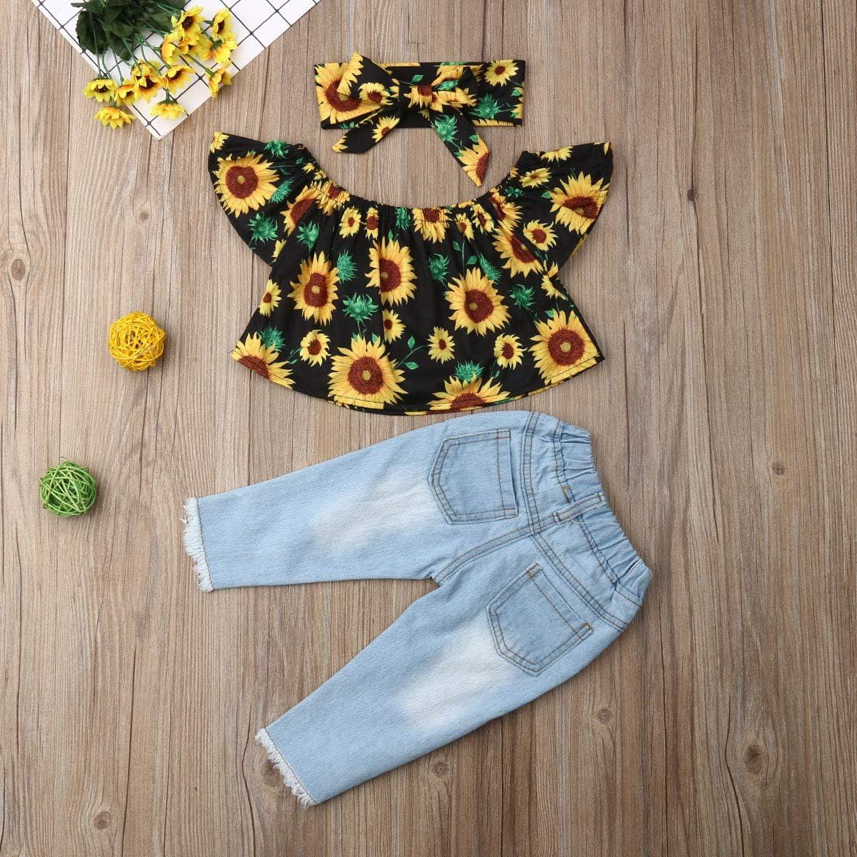 Trajes de ni/ña peque/ña para beb/és Conjunto de Hombro Girasol Top Pantalones Vaqueros Largos Banda para el Pelo 3 Piezas Conjunto de Ropa para el Verano oto/ño