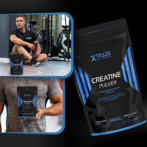 XTRAZE® Creatina Monohidrato en Polvo 500 g, Creatine Vegana 100% pura, Suplemento Deportivo sin Aditivos Innecesarios, para el Entrenamiento con ...