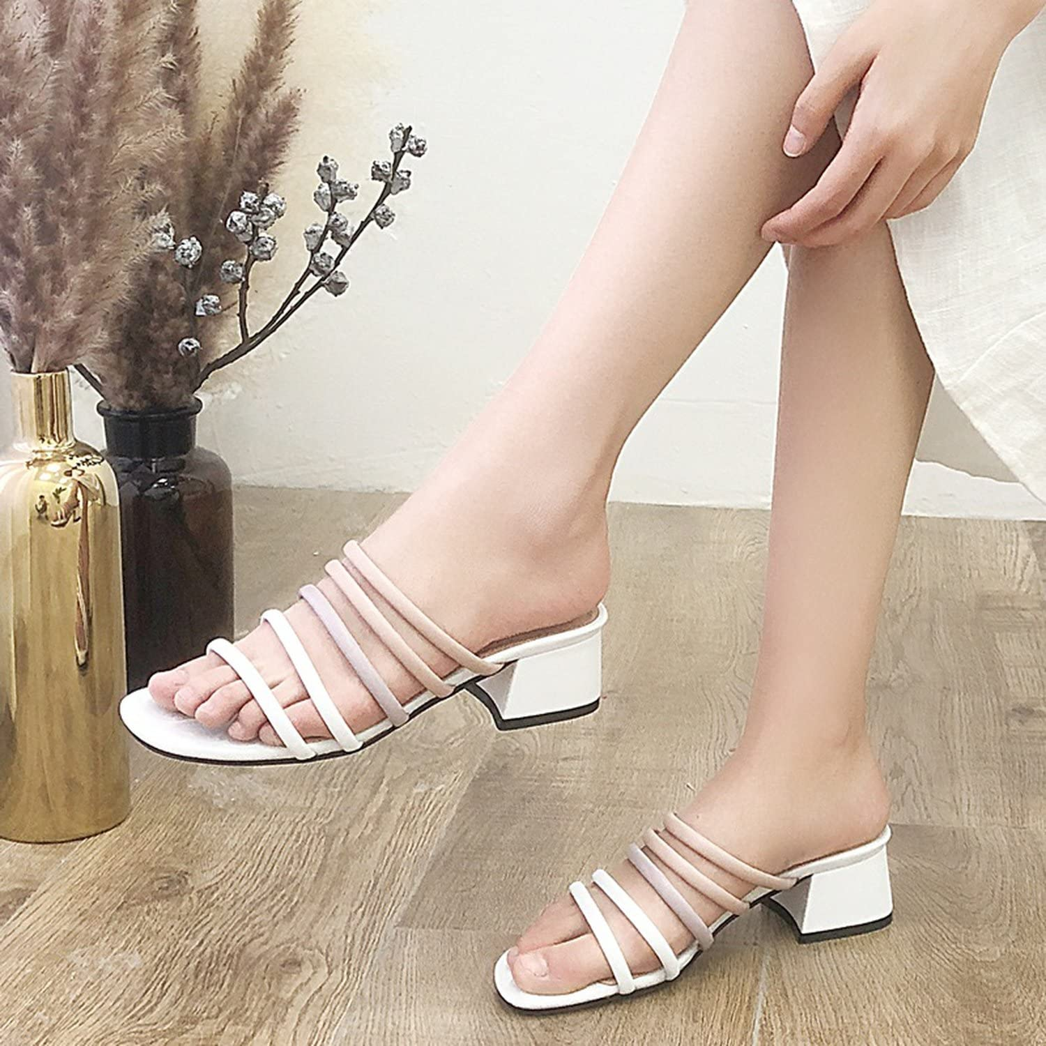 Women Sandals Summer Genuine Leather Slippers high Heels Open Toe Casual Gladiator Sandals