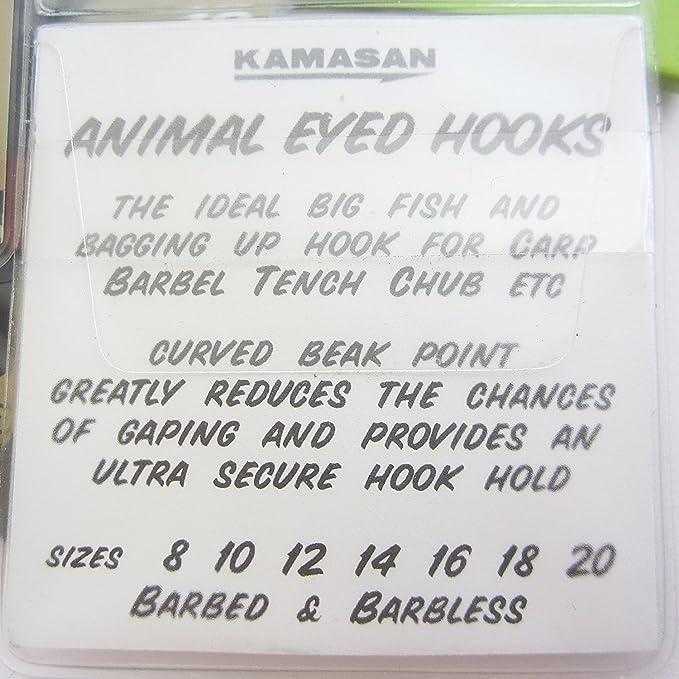 FOR CARP,BARBEL KAMASAN ANIMAL BARBLESS EYED HOOK TENCH CHUB ETC