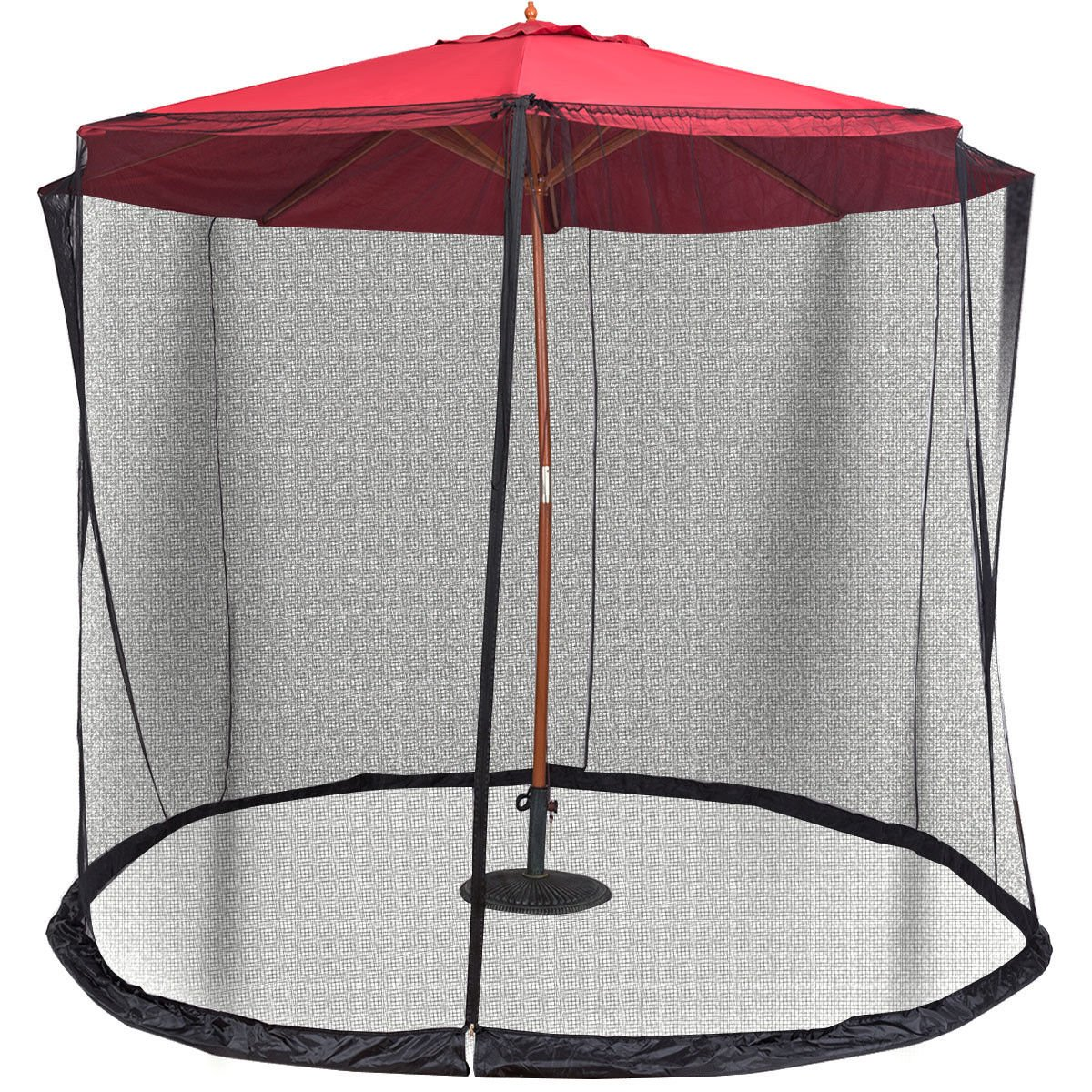 Globe House Products GHP Outdoor Black 30'Lx7'H Lightweight Adjustable Umbrella Screen Cover/Canopy