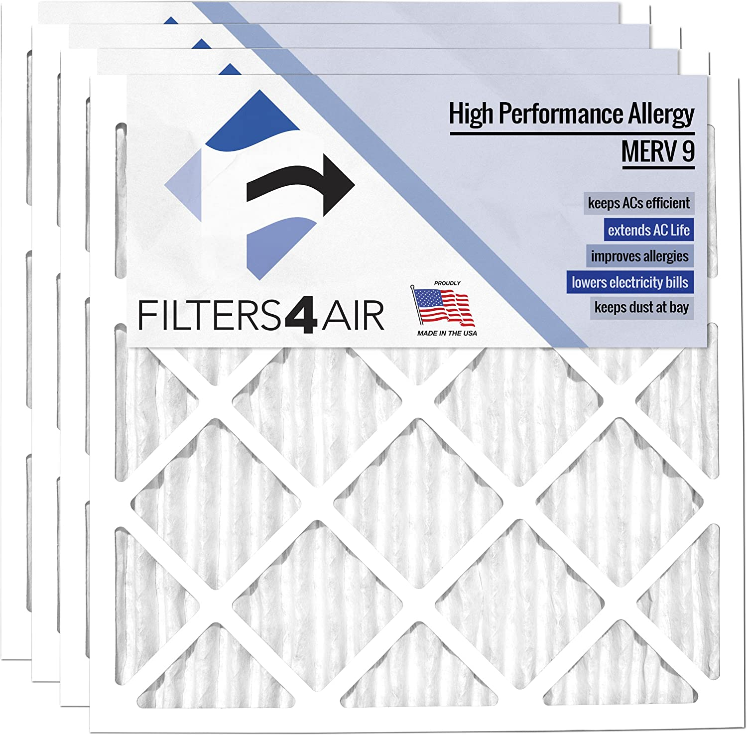 - Pleated Replacement Residential HVAC AC Air Filters MERV 9 24x24x1 - Filters4Air 4 PACK