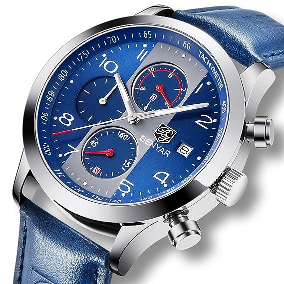 Reloj de pulsera para hombre con cronógrafo analógico de cuarzo, fecha, resistente al agua, piel azul, deportivo: Amazon.es: Relojes
