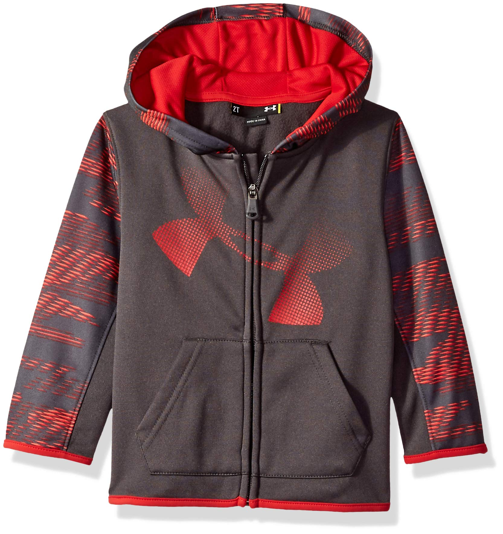 Under Armour Boys' Toddler Zip Up Hoody, Charcoal Travel, 3T