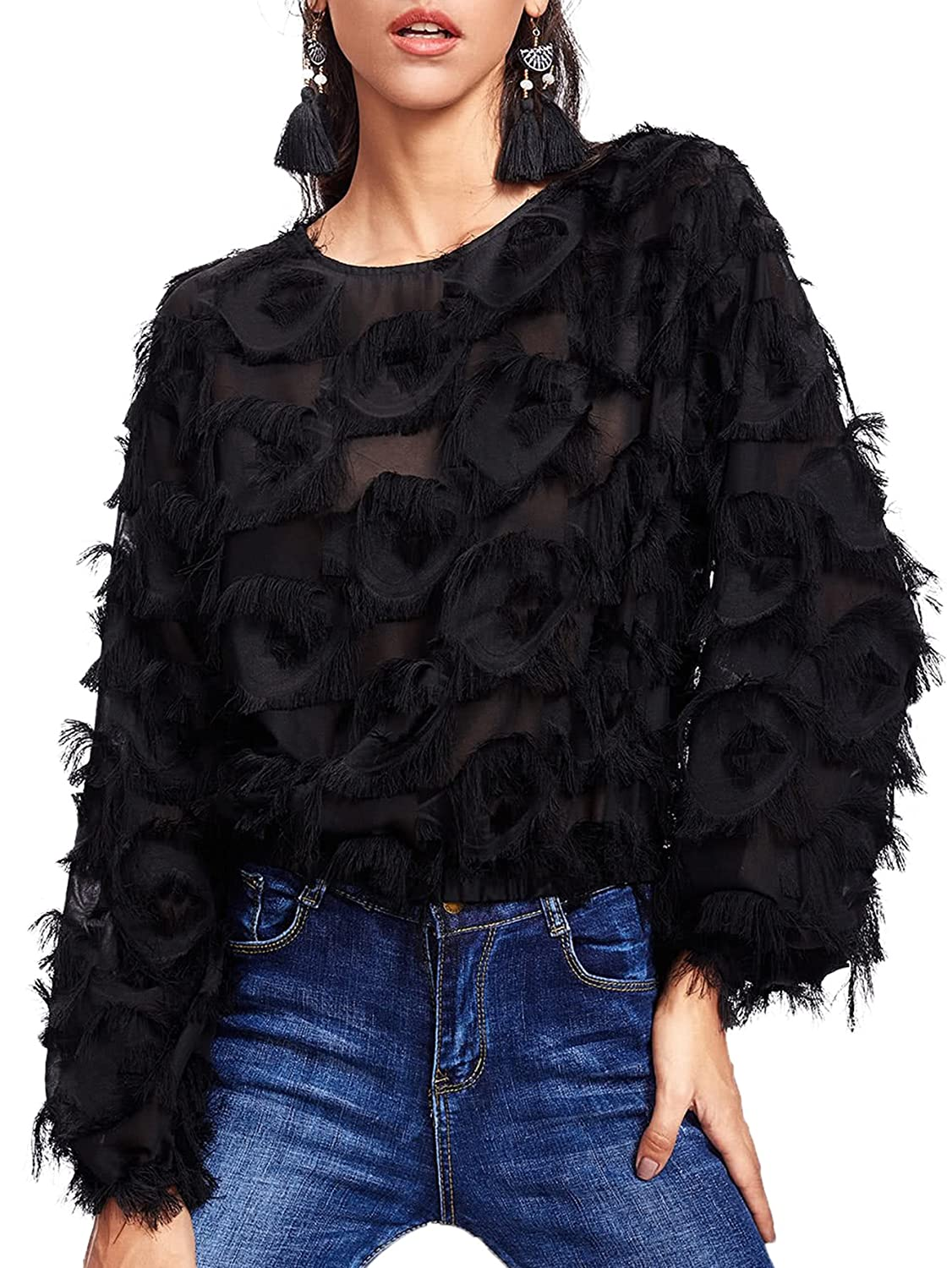119683f779a Romwe Women's Casual Round Neck Fringe Patch Long Sleeve Mesh Top at Amazon  Women's Clothing store:
