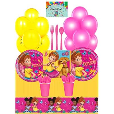 Fancy Nancy Party Supplies Pack - Plates, Napkins, Cups, Tablecloth, Cutlery Set, Decorative Balloons and Birthday Card by JPMD (Serves 16): Toys & Games