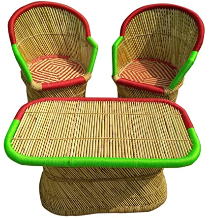PatioStack Bamboo Outdoor Vintage Rattan & Wicker Sitting Table Chair Furniture Set for Garden / Terrace / Lawn and Living Room [ 2 Chair, 1 Table ]